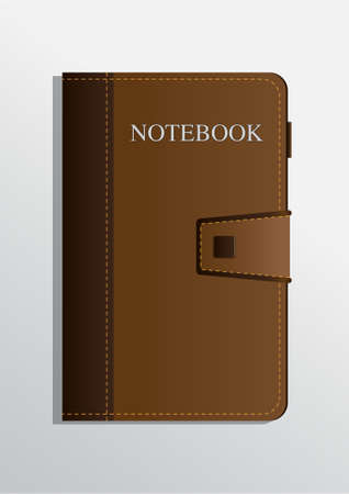 brown vintage leather cover notebook. realistic vector illustration.