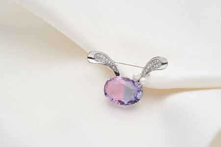 Silver brooch shaped like a hare with purple iridescent crystal, isolated on white background. Women Accessories