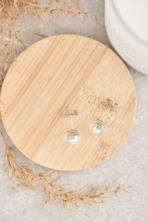 Close up stud earrings, with iridescent crystals. Beautiful earrings on wooden plate. Women accessories, woman's jewelry.
