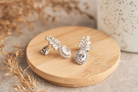 Close up silver stud earrings, with white crystals and diamonds. Beautiful earrings on wooden plate Women accessories, woman's jewelry. Standard-Bild