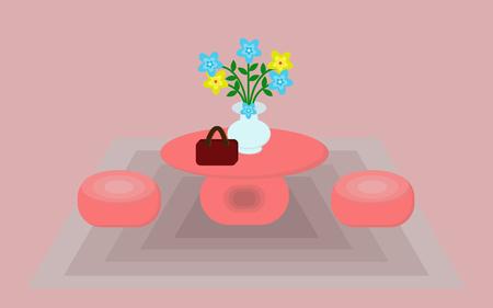 Il tavolo e le sedie sono arancioni con vasi e fiori.