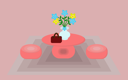 Table and chairs are orange with vases and flowers.