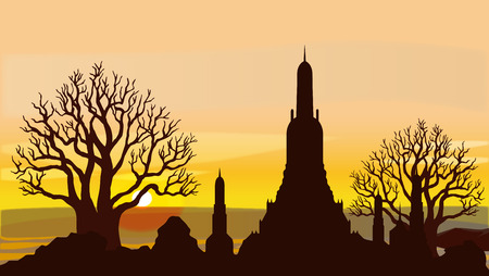 Attractions, Culture and Religion of Thailand Vector illustrations