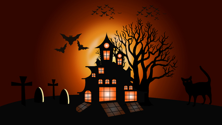 Halloween dark castle on a yellow moon cat and tree background, vector illustration Stock Illustratie