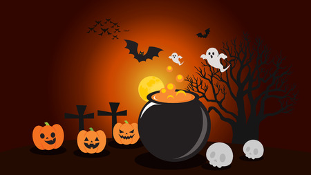 Halloween illustrations Pumpkin Wonders with Atmosphere at Night Stock Illustratie