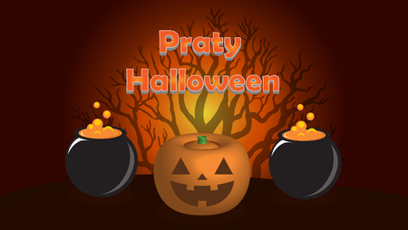 Halloween vector illustration with Three-dimensional pumpkin and text.