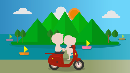 Have man and women a couple at the beach Going to get married before illustration vector Çizim