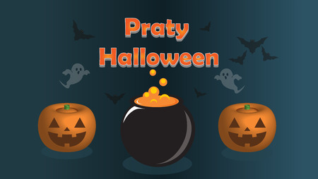 background with pumpkin bat text illustration,vector Illustration