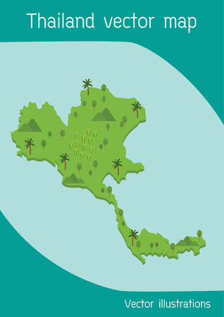 Thailand map With natural landscapes Vector illustrations