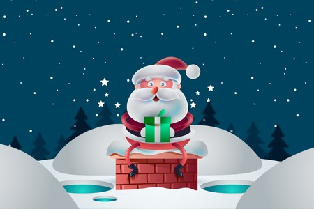 Christmas card consists of Santa's snow in the nighttime atmosphere.