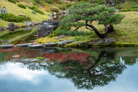 Colorful Isuien Japanese garden with pond in Nara city