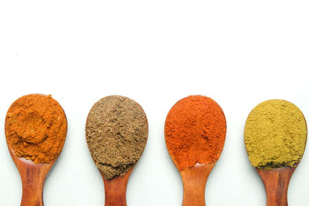 oyalty-free stock photo ID: 1539782417  A high key flatlay closeup picture of messy Turkish mix spices, coriander, paprika and curry in herbs spoon before marinating food.
