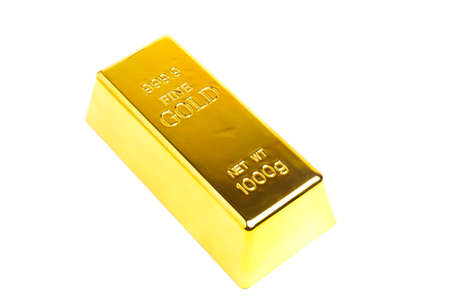 A picture of expensive big gold bar on isolated white background