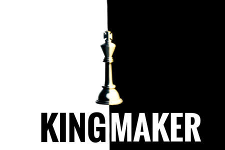 A picture of combine black and white chess king in black and white background with kingmaker word.
