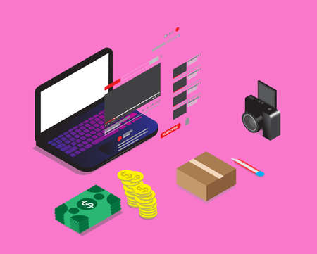 A vector of making money with unboxing content creator at social media. Vecteurs