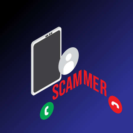 A left and right isometric vector of scammer phone call on dark background