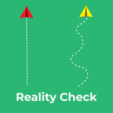 A vector of paper plane flying path with the word reality check.