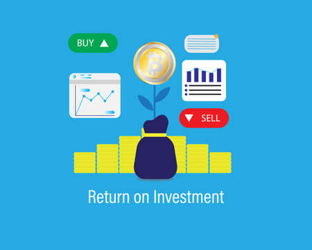 A vector of Bitcoin return on investment concept with business graph, buy and sell tab. Trading bitcoin is starting giving high return to investor. Vektorové ilustrace