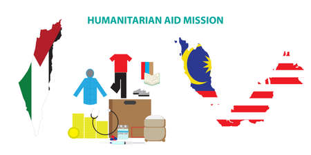 A vector of humanitarian aid from Malaysia to Palestine. Humanitarian Aid consist of food, medical supply, clothes, money, education and expertise.