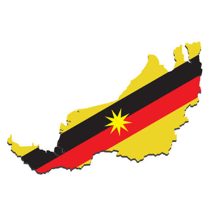 """A vector of Sarawak map with the flag mask in it. Sarawak situated at Borneo Island also known as """"Land of Hornbill""""."""