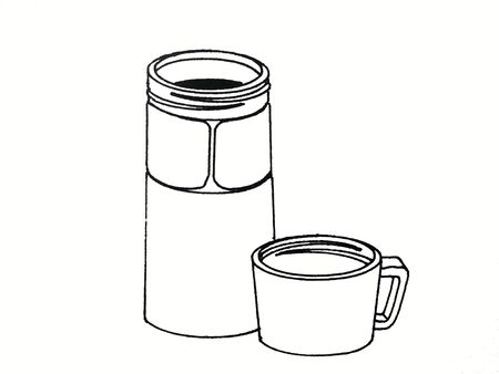 Illustration of cup and thermos