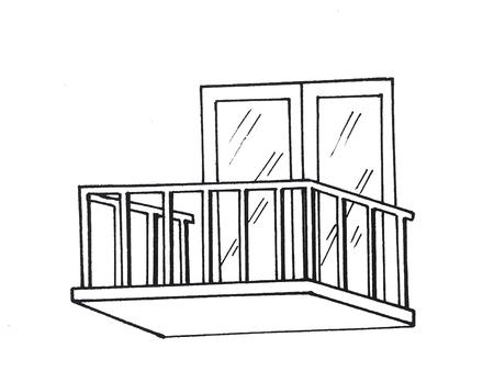 Illustration of  window gallery with grills Zdjęcie Seryjne