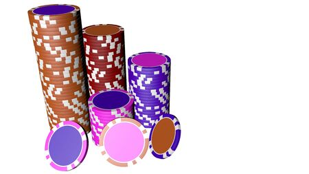 Set of poker chips of different colors and composition isolated on white background.