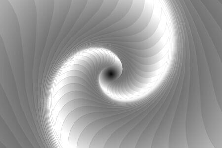 black and white fractal illustration for meditation and decoration wallpaper. Spiral background design for textile, wallpaper and interior decorations. Infinite geometry fractal background of spiral jigsaw puzzle. Banco de Imagens - 128749696