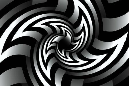 black and white fractal illustration for meditation and decoration wallpaper. Spiral background design for textile, wallpaper and interior decorations. Infinite geometry fractal background of spiral jigsaw puzzle. Banco de Imagens - 128810847