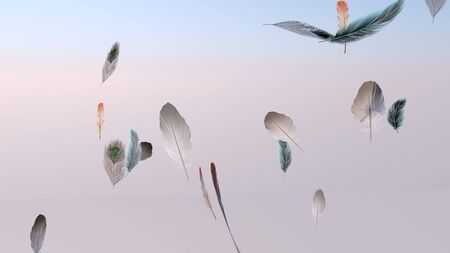 Soft silky feathers isolated on background with copy space for text and advertisement. Feather background with delicate fur and realistic looks. 3D rendering