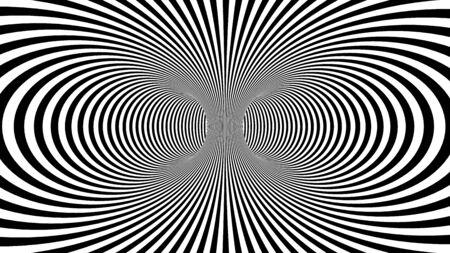 Fond d'illusion psychédélique hypnotique avec des rayures colorées. Fond blanc avec des rayures colorées psychédéliques. Banque d'images