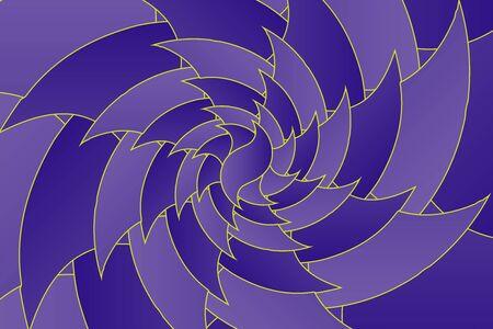 Fractal illustration for meditation and decoration wallpaper. Spiral background design for textile, wallpaper and interior decorations. Infinite geometry fractal background of spiral jigsaw puzzle. Banco de Imagens - 128948319