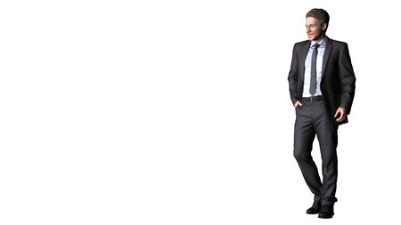 Business Man  in Casual Dress Standing Pose  isolated on white background. 3D Illustration. Stock Photo