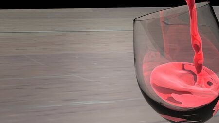 View of red wine poured in white transparent wine glass. 3D rendered illustration