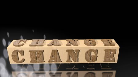 Letter KNOWLEDGE with 3D shapes on a beautiful background. 3D rendered golden letter change on a wooden square block with a mirror floor background.