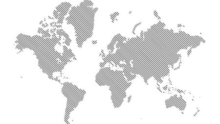 Detailed world map with all countries and subcontinents. Illustration of globe map with geometric shapes pattern imposed. Stok Fotoğraf