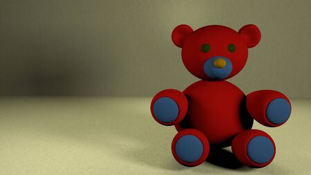 Cute baby teddy bear on beautiful background. 3D rendered colorful teddy bear sitting on floor against grey background