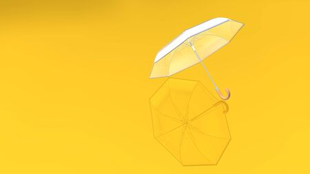 Colorful umbrella with shadow on a delightful color background. 3D rendered Transparent umbrella with all parts visible on a colored floor. 写真素材 - 130026816