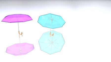Colorful umbrella with shadow on a delightful color background. 3D rendered Transparent umbrella with all parts visible on a colored floor. 写真素材 - 130025856