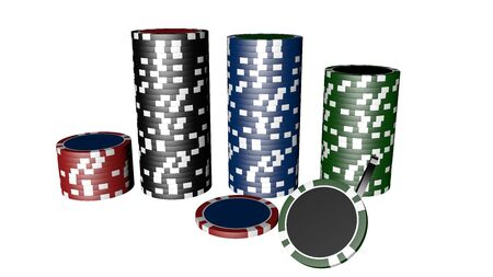 Set of poker chips of different colors and composition isolated on white background. 写真素材 - 130025857