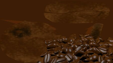Scattered roasted coffee beans background with copy space for text and advertisements. Coffee beans are healthy for human brain and nervous system. 3D rendering