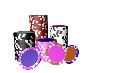 Set of poker chips isolated on white background.