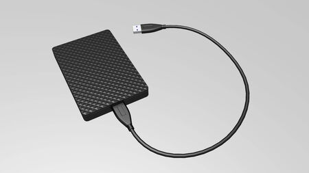 Portable external hard disk drive with USB cable on white background. Pocket size hard drive. 3D rendered illustration