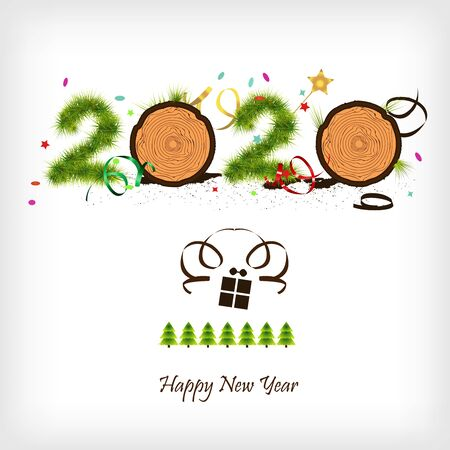 New Year 2020. Figures made of wood. Ecology and woodworking. Forest.