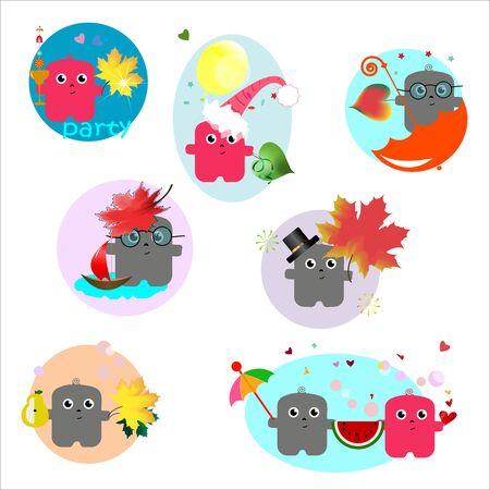 funny autumn stickers, cartoons. set