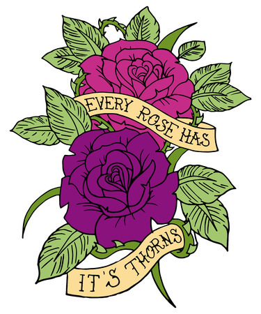 rose tattoo: Rose Tattoo Design Vector Banner Design Romantic