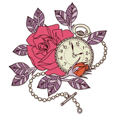 rose tattoo: Clock Rose Tattoo Design Flower Vector Design