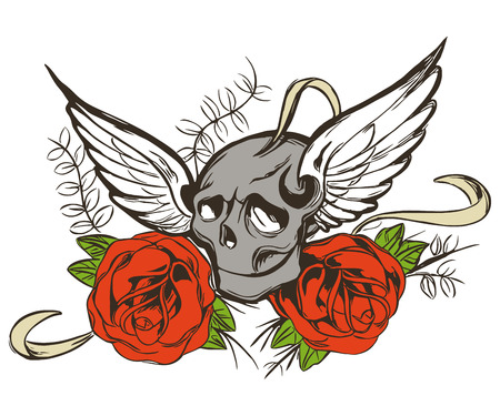 rose tattoo: Skull Rose Tattoo Vector Floral Grunge Design