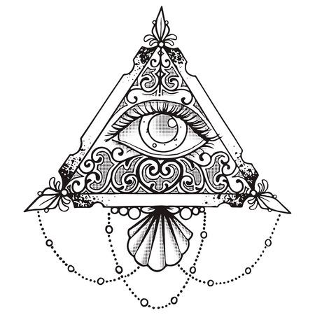 Eye Piramide Zwarte Esoteric Ontwerp Illustratie Black Stock Illustratie