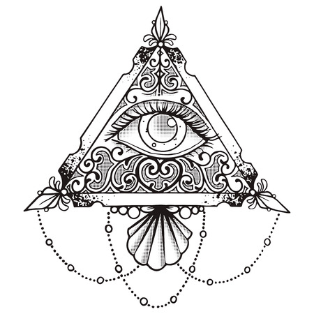 freemasonry: Eye Pyramid Black Esoteric Design Illustration Black